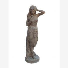Sculpture girl with rose statue based on cast iron antique brown romance