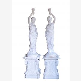 Two sculptures torchbearers inner pair statues antique white on pedestals cast iron