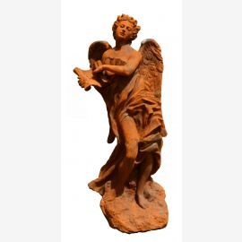 Sculpture angel statue on large plate cast iron rust colored Baroque