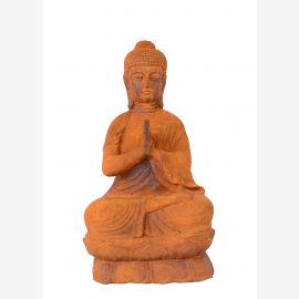 Asia Buddha sitting small sculpture statue cast iron rust colored Buddhism