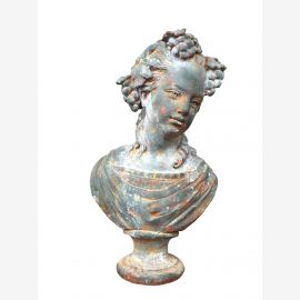 Romantic bust on pedestal sculpture chalky gray-green cast iron