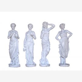 Four Seasons small female sculptures cast iron antique white