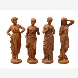 Four Seasons small female statues cast iron russet