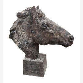 Classical noble horse head on base Statue Cast Iron Antique Brown