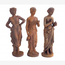 Classical dancers three small statues cast iron russet