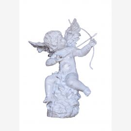 Sculpture play Cupid with bow and arrow cast iron antique white
