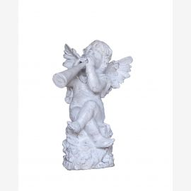 Baroque sculpture Putte Angel with trombone cast iron antique white