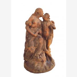 Erotic miniature Ars and Cupid sculpture on plate cast iron russet