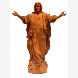 Sculpture Jesus blessing middle statue on pedestal cast iron rust colored