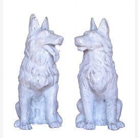 Two sitting Hundepaar miniature antique white cast iron sculptures
