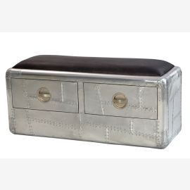 NEW polished aircraft aluminum furniture two-seater bench drawers