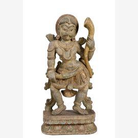 India Taenzer geschnitzte Skulptur Holz Kunstwerk Bildhauerarbeit auf Sockel