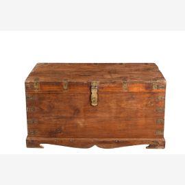 Indien 1945 breite Truhe Kassette Box tolle Messingbeschläge honigbraunes Hartholz