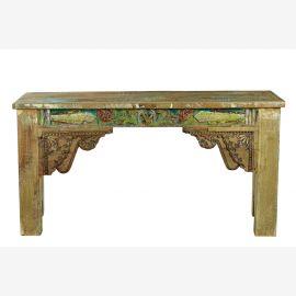 Indien bunt bemalter langer Tisch schöne Schnitzereien Rajasthan Hartholz Möbel