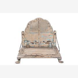 Indien niedriger quadratischer Stuhl Bajot geschnitzte Dekore Rajasthan 1925