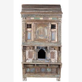 India Varanassi 1930 großer Schrank Tempelschrank tolle Frontoptik beschnitzt und bemalt