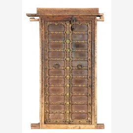 India 1930 antike Tür Eingang Kassettenoptik herrliche Schnitzarbeiten Metallbeschläge