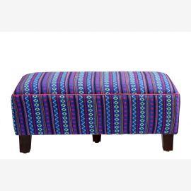 Indien hübsche kleine Sitzbank bequeme Polsterung dunkelblauer Bezug