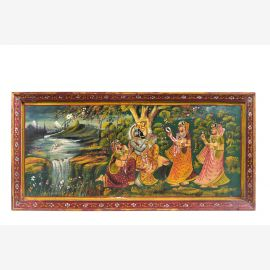Indien 1965 Wandbild traditionelle Naturszene rotbrauner Holzrahmen Querformat