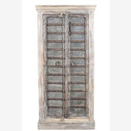 Indien schlanker Schrank Doppeltür dunkelbraun traditionell beschnitztes Frontdekor