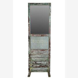 India hoher Spiegel Schminkspiegel aus Theater aus Holz und Metall heavy used optic