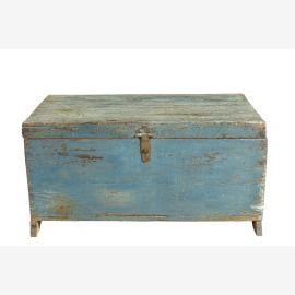 Indien 1950 kleine hellblaue Truhe Kassette Box Metallbeschlag Goa