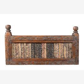 Indien kunstvoll geschnitztes Zierpanell aus antiker Balkonverkleidung Rajasthan