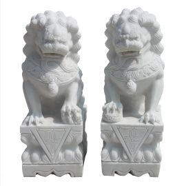 White Marble Fu Dog Pair Temple Lions Guardian Sculpture