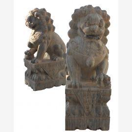 Fu Dog couple temple lions guardians beige marble antique look sculptures
