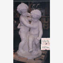 Sculpture children standing Putten pair of white marble Park