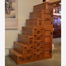 Japanese hardwood staircase with black fittings