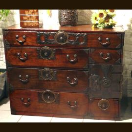 Solid wood cabinet from Japan with elaborate clasps in antique finish