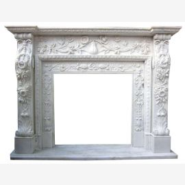 Marble fireplace, fireplace mantel made to measure solid marble K096