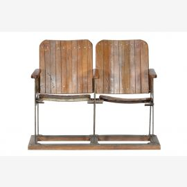 India rare old cinema chairs Two seater dark hardwood Bollywood live