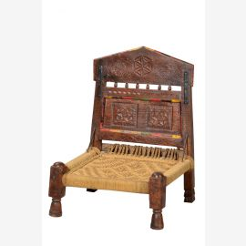 India 1900 classic chair seat carved dark hardwood turned legs