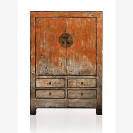 Solid wood cabinet from China painted in rust look.