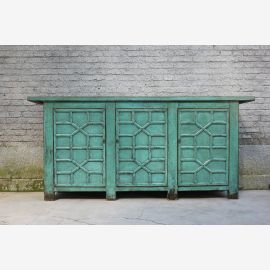 Robust wooden sideboard from China blue-green carvings.