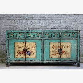 Natural wooden sideboard from China turquoise elaborately designed