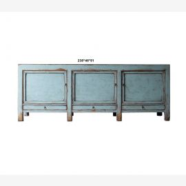 Chinese sideboard made of natural wood, covered turquoise geometric