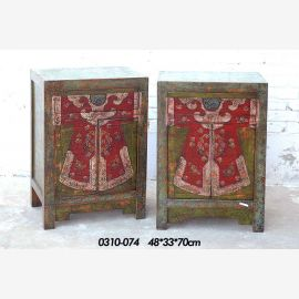 Solid wood cabinet with traditional painting, doublet