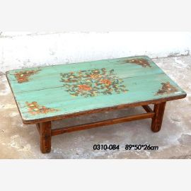 Natural wood table from China, turquoise traditional painting
