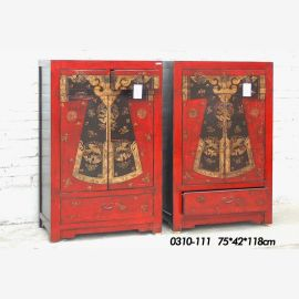 double solid wood cabinet, red elaborate design