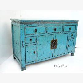 Solid wood sideboard from China, turquoise, metal applications, straight lines