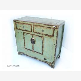 Solid wood cabinet from China with contrasting elements in blue-green