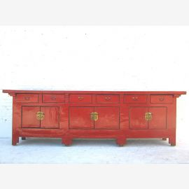 Solid wood sideboard from China in camesin red with applications