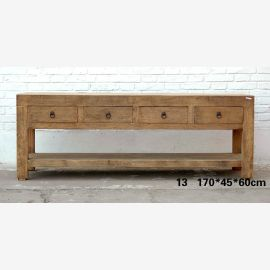 Solid wood lowboard from China with metallic applications