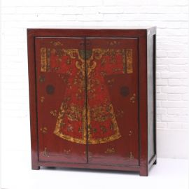 Chinese solid wood chest of drawers in dark red with traditional painting
