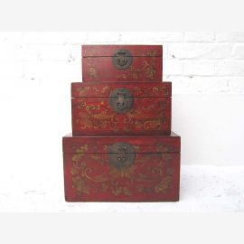 Chinese chest set made of first-class wood with painting and applications