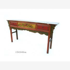 Chinese chair made of fine wood with colour-contrasting drawers