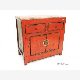 Chinese chest of drawers made of excellent wood with contrasting geometric contrasts